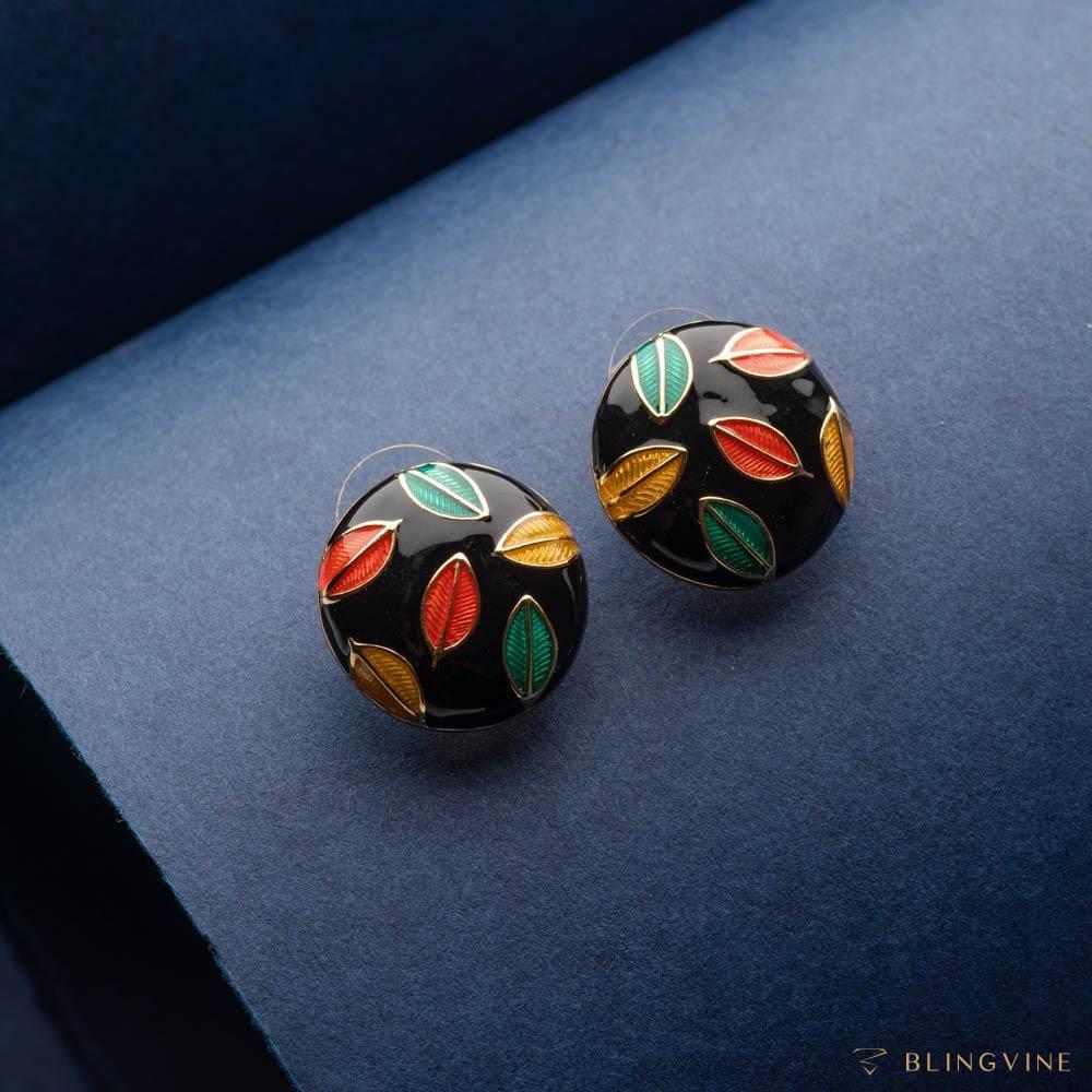 Romeo Black Enamel Stud Earrings - Blingvine