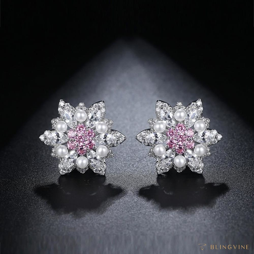 Mia Crystal and Pearl Studs - BlingVine