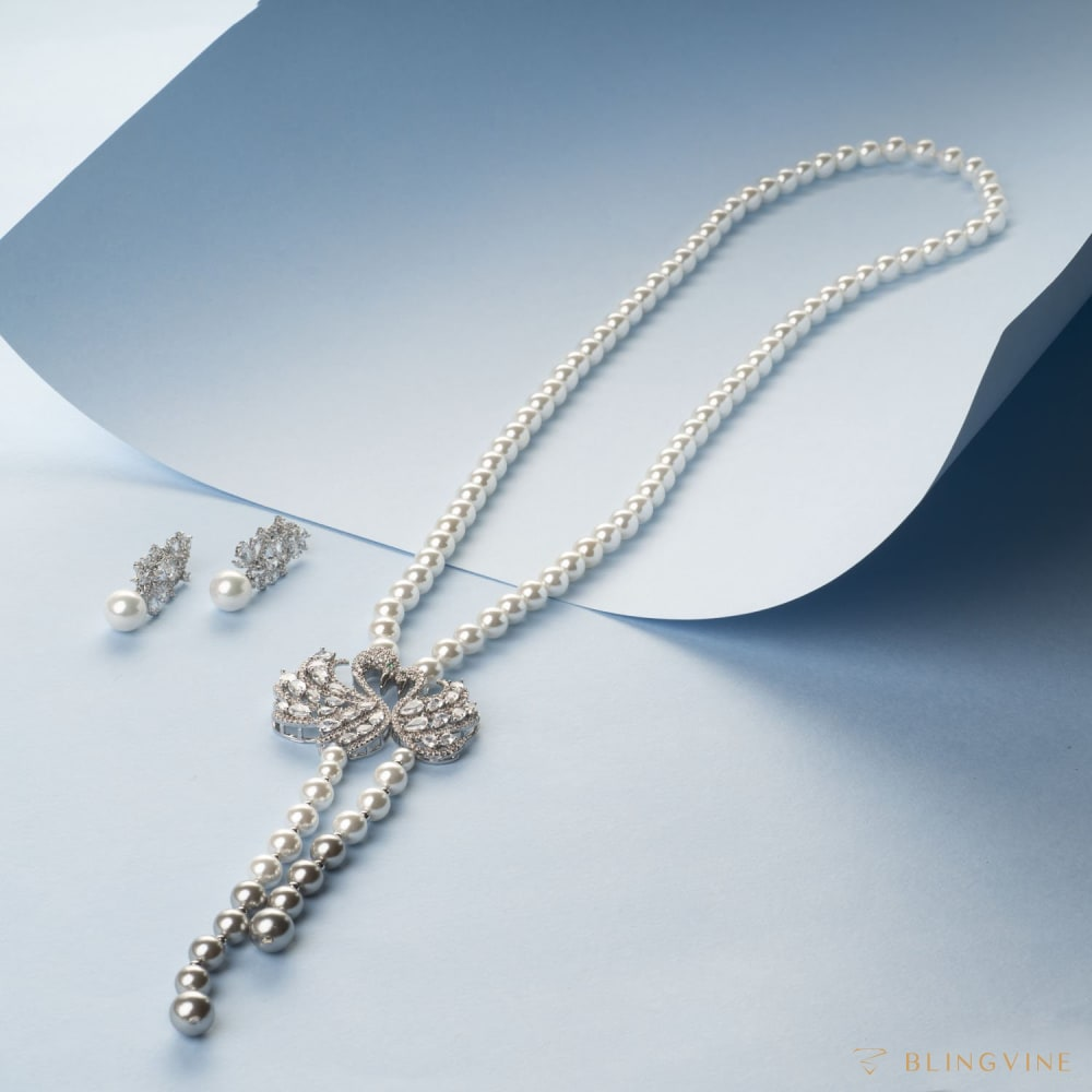 Swan Lake Long Necklace Set - BlingVine