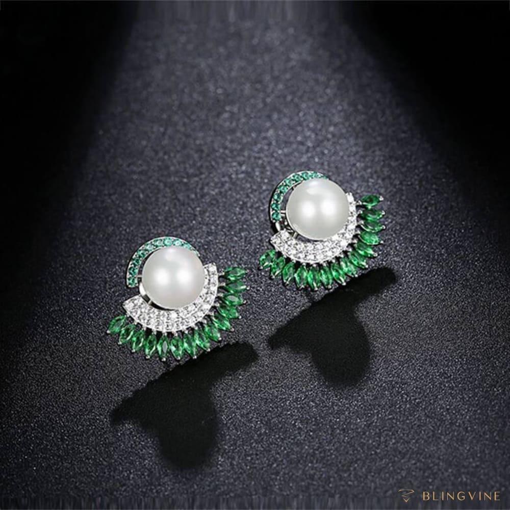 Dhani Green Crystal and Pearl Stud Earrings