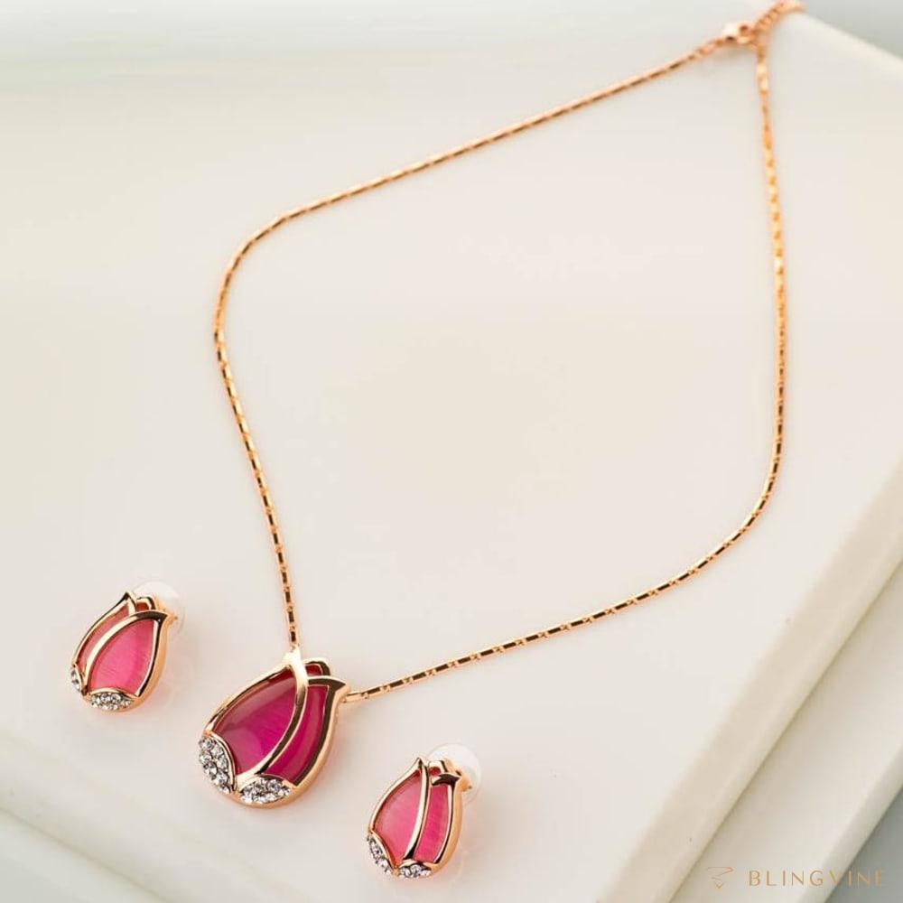 Tulips Pink Pendant Necklace Set - Blingvine