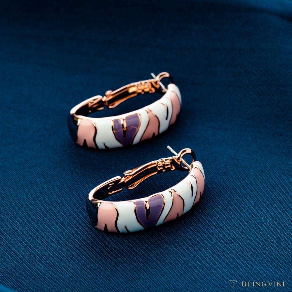 Striped Loop Earrings - BlingVine