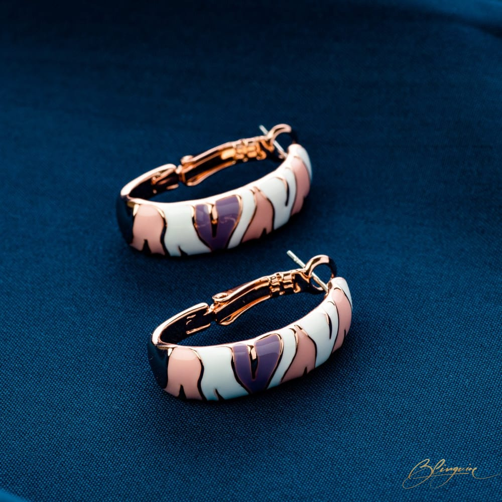 Striped Loop Earrings - BlingVine