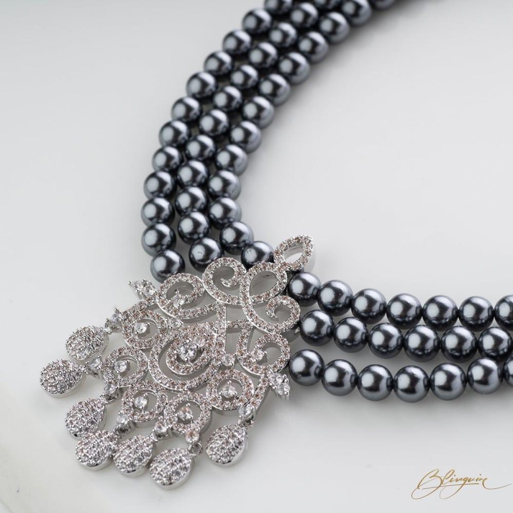 Midnight Mystique Pearl Necklace Set - BlingVine
