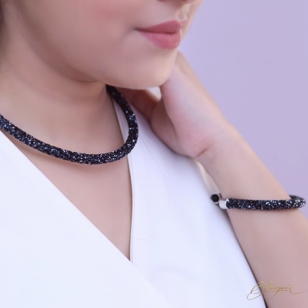 Fairy Dust Choker Bracelet Set - Dark Blue - BlingVine