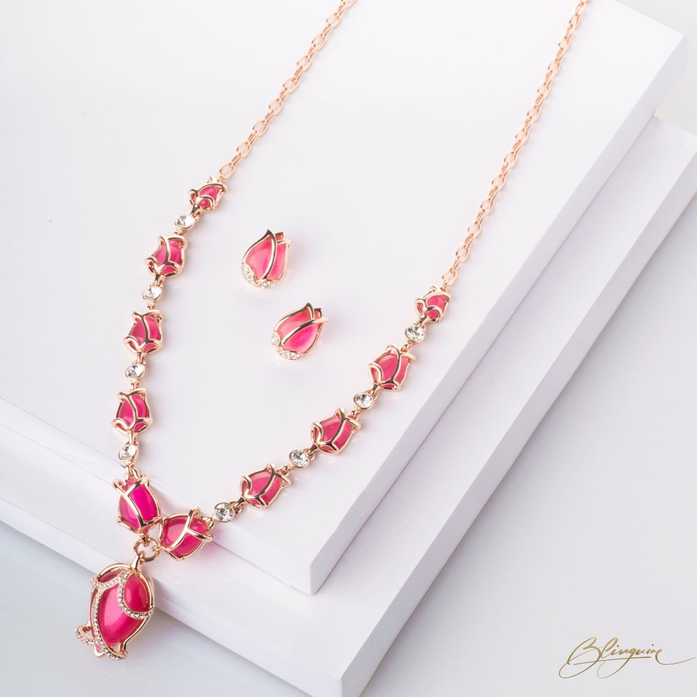 Tulips Long Necklace Set - Pink - BlingVine