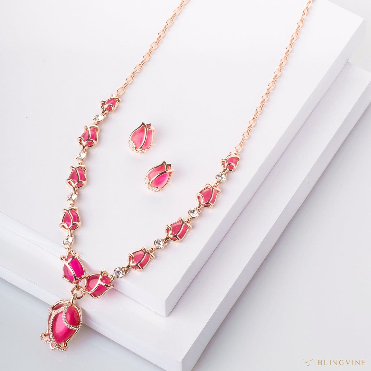 Tulips Long Necklace Set Pink Blingvine