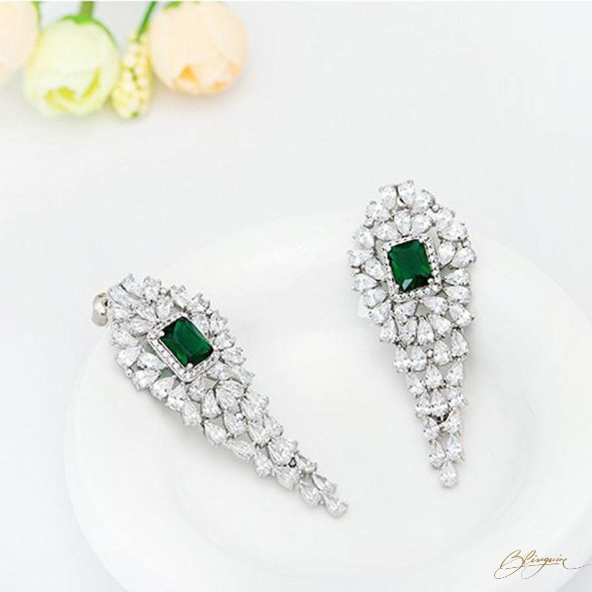 1f3b8f881 ... Victoria Danglers - Emerald Green - BlingVine ...