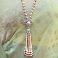 Champagne Long Necklace Set - BlingVine