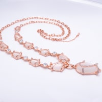 Tulips Long Necklace Set - White - BlingVine