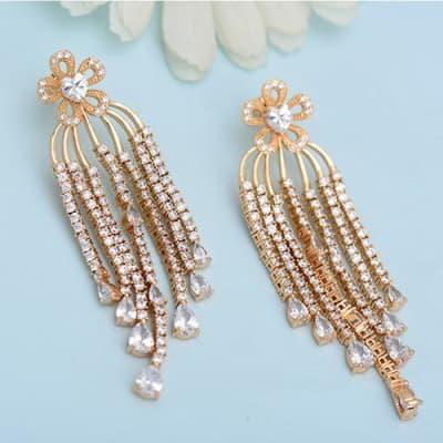Kesha Luxury Long Earrings - White
