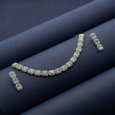 Prisha Sea Green Stone Necklace set - Blingvine Jewellery