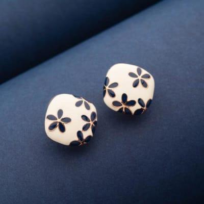Blue Blooms Enamel Stud Earrings - Blingvine Jewellery