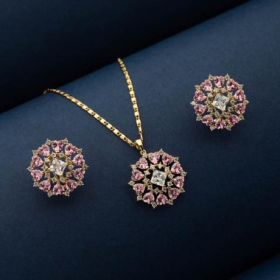 Pink Vibes Crystal Pendant Set - Blingvine Jewellery