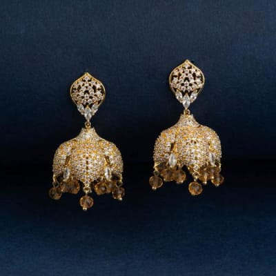 Jodha Crystal Jhumka Earrings - Blingvine Jewellery