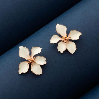 Dinaz White Floral Stud Earrings - Blingvine Jewellery