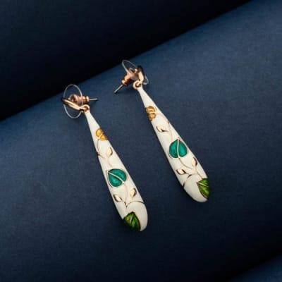 Phulkari Slim Enamel Long Earrings - Blingvine Jewelry