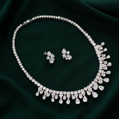 Maharani American Diamond Necklace Set - Blingvine