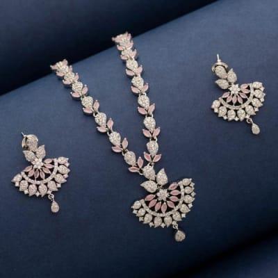 Blush Crystal Necklace Set - Blingvine