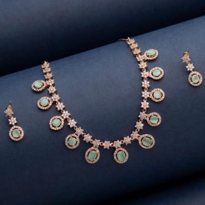 Celebrations Crystal Necklace Set with Mint Green Stones - Blingvine