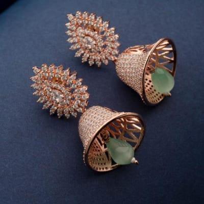 Lashkara Mint Green Jhumka Earrings - Blingvine