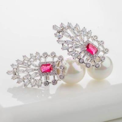 Sienna Ruby Red Crystal and Pearl Earrings - Blingvine