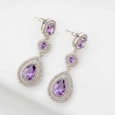 Violet Crystal Long Earrings - Blingvine