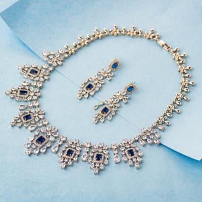 Mallika Luxury Crystal Necklace Set - Blingvine