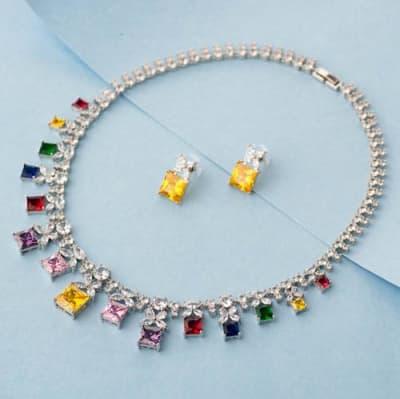 Navratan Luxury Crystal Necklace Set - Blingvine