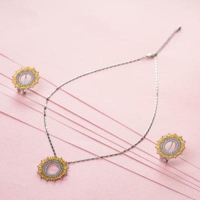 Marigold Crystal Pendant Necklace Set - BlingVine