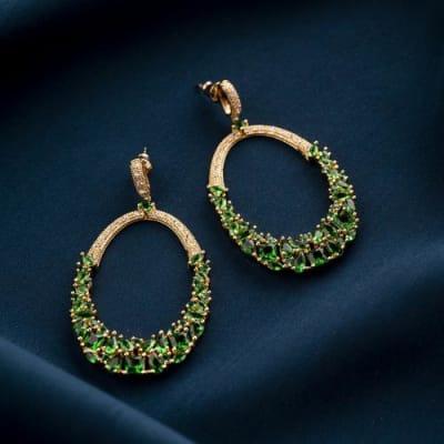 Glamista Crystal Long Earrings - Emerald Green