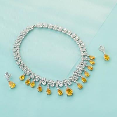 Amber Crystal Necklace Set