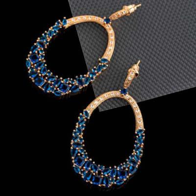 Glamista Blue Crystal Long Earrings