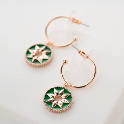 Chakra Enamel Dangle Hoop Earrings