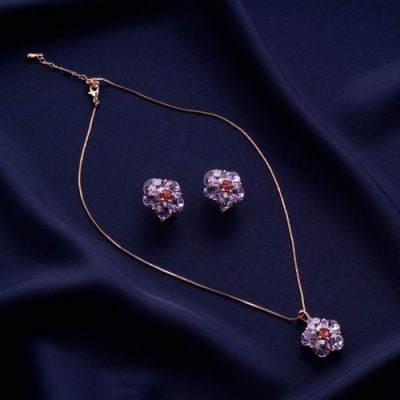 Lilac Delight Crystal Pendant Necklace Set