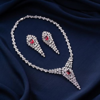 Victoria Ruby Red Crystal Necklace Set - Blingvine