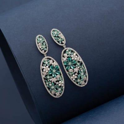 Iris Crystal Long Earrings