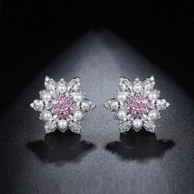 Mia Crystal and Pearl Stud Earrings