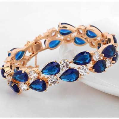 Blue Bangle Bracelet with Tear Drop shaped Crystals