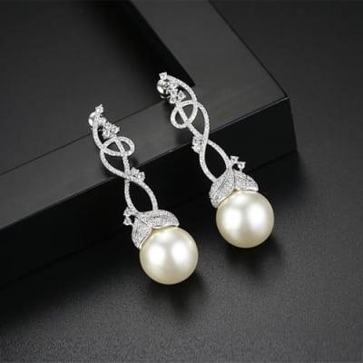 Myra Crystal Pearl Long Earrings - BlingVine
