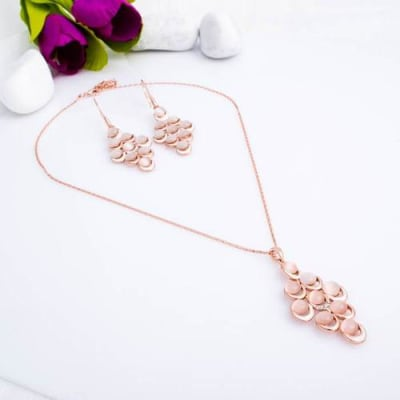 Dew Drops Stone Pendant Necklace Set