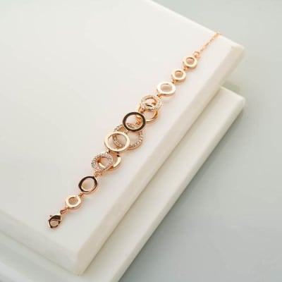 Loopy Crystal and Rose Gold Bracelet - Blingvine