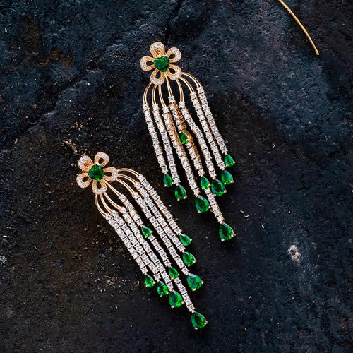 Kesha Luxury Danglers - Green - BlingVine