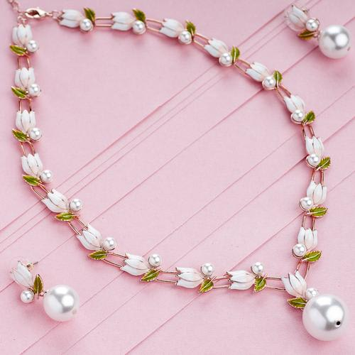 White Lotus Necklace Set - BlingVine
