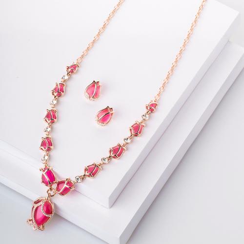 Tulips Long Necklace Set - Pink - BlingVine