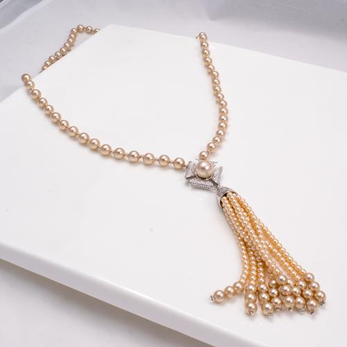 Champagne Pearl Long Necklace