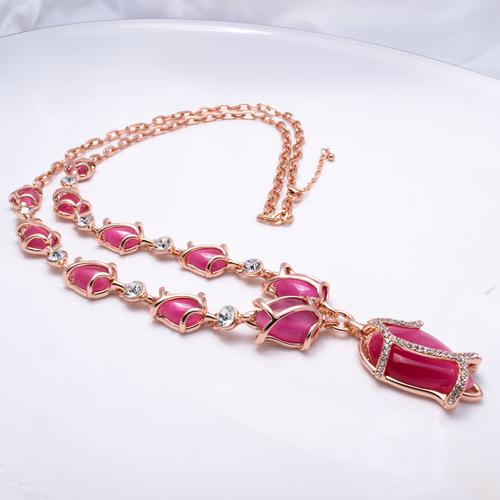 Tulips Long Necklace - Pink