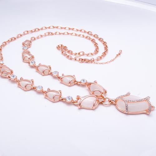 Tulips Long Necklace - White