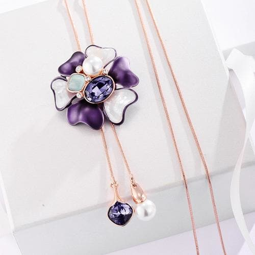 Purple Blossom Long Necklace - BlingVine
