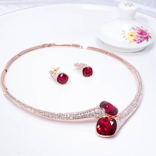 Red Wine Necklace Set - BlingVine